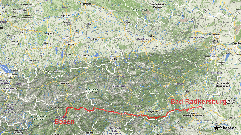 Steiermark, Kärnten, Ost- und Südtirol (v.r.n.l.)