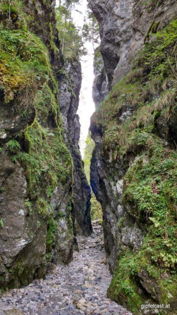 Ein schmaler Spalt im hohen Fels